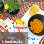 August Tablescape Idea with Pencil-themed Gift Tags and Bookmarks